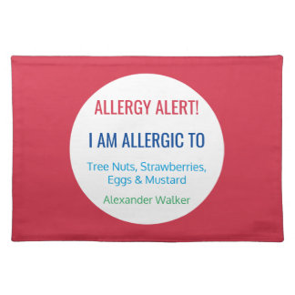 Custom Food Allergy Alert Personalized Kids Placemat