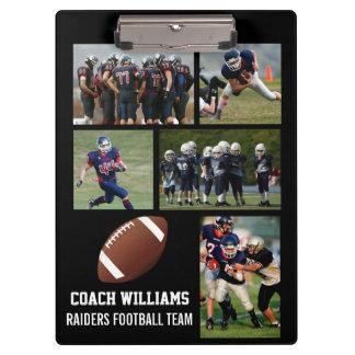 Custom Football Coach 5 Photo Collage Team Name Clipboards
