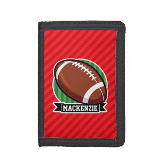 Custom Football on Red Diagonal Stripes Tri-fold Wallets
