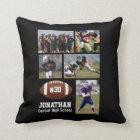 Custom Football Photo Collage Player Name # Team Throw Pillow