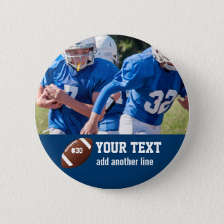 Custom Football Photo Name and Number 2 Inch Round Button