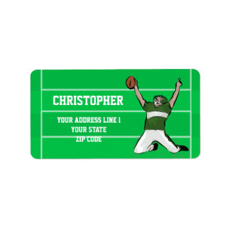 Custom Football Player Touchdown Green and White Address Label