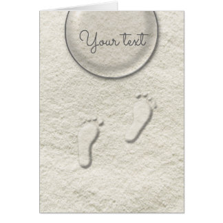Custom footprint/footprints on sandy beach design card