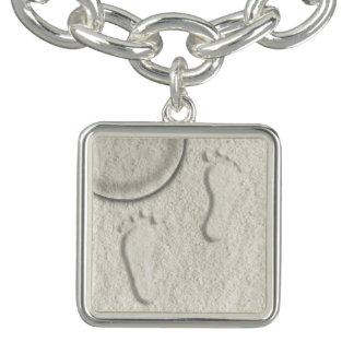Custom footprint/footprints on sandy beach design charm bracelet