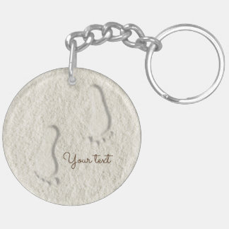 Custom footprint/footprints on sandy beach design Double-Sided round acrylic keychain