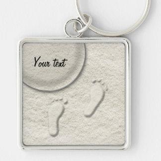 Custom footprint/footprints on sandy beach design keychain