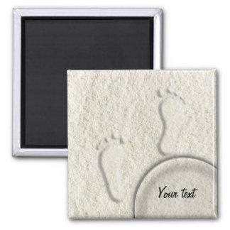 Custom footprint/footprints on sandy beach design magnet