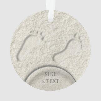 Custom footprint/footprints on sandy beach design ornament