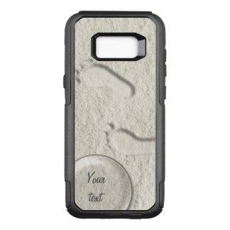 Custom footprint/footprints on sandy beach design OtterBox commuter samsung galaxy s8+ case