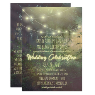 Custom Forest Wedding Invitation - Stringlights