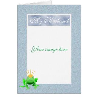 Custom frame for Husband with green frog.humor. Card