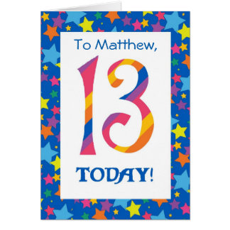 Custom Front 13th Birthday Bright Stripes, Stars Card