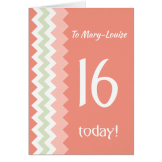 Custom Front 16th Birthday, Coral, Mint Chevrons Card