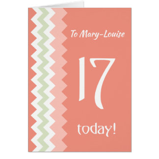 Custom Front 17th Birthday, Coral, Mint Chevrons Card
