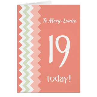 Custom Front 19th Birthday, Coral, Mint Chevrons Card