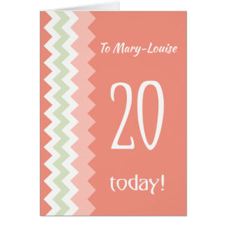Custom Front 20th Birthday, Coral, Mint Chevrons Card