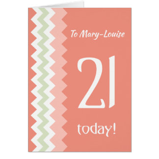 Custom Front 21st Birthday, Coral, Mint Chevrons Card