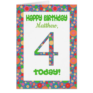 Custom Front 4th Birthday Card Bright and Bubbly