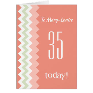 Custom Front Any Age Birthday Coral Mint Chevrons Card