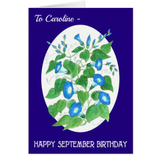 Custom Front Blue Morning Glory September Birthday Card