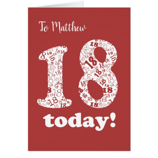 Custom Front Chic Red, White 18th Birthday Card