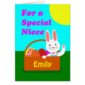 Custom Front Easter for Niece, Add a Name, Bunny Card