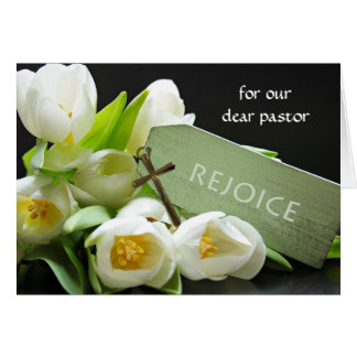 Custom Front Easter for Pastor, White Tulips Cross Card