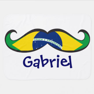 Custom Fun and Cute Brazilian Flag Mustache Baby Blanket