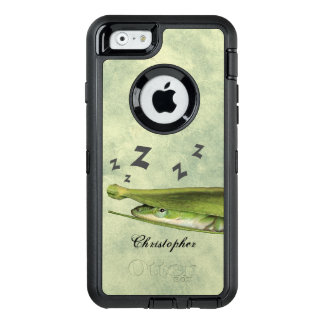 Custom Fun Cute Playful Snoozing Green Lizard OtterBox iPhone 6/6s Case