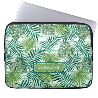 Custom Fun Hip Tropical Green Palm Leaves Pattern Laptop Sleeve