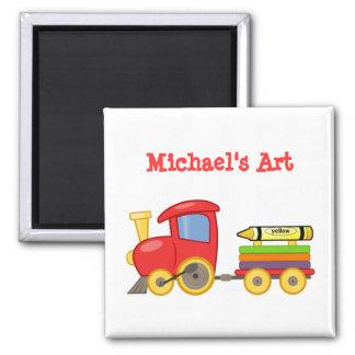Custom Fun Red Choo Choo Train Engine Cute Art Square Magnet