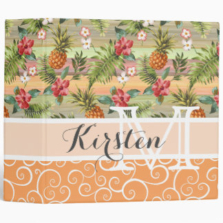 Custom Fun Tropical Pineapple Fruit Floral Pattern Binders