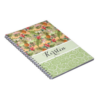 Custom Fun Tropical Pineapple Fruit Floral Pattern Spiral Notebook