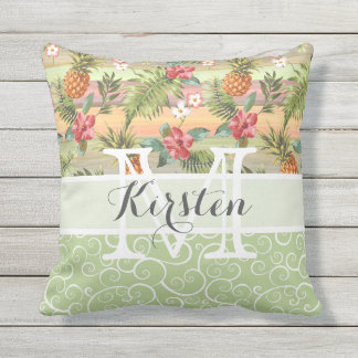 Custom Fun Tropical Pineapple Fruit Floral Pattern Throw Pillow