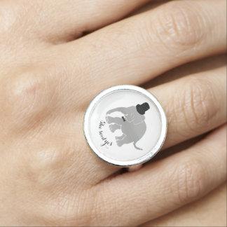Custom fun vintage elephant groom engagement ring