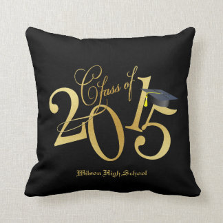 Custom Funky Black and Gold Class of 2015 Throw Pillow