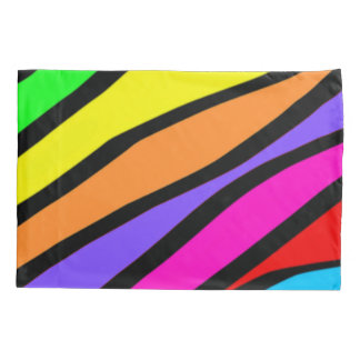 Custom Funky Rainbow Zebra Stripes Pattern Pillowcase