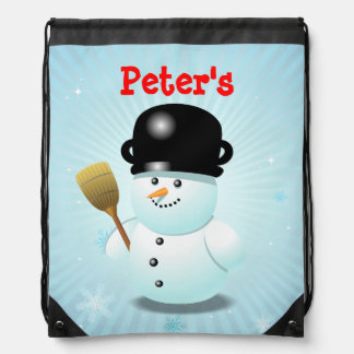 Custom Funny Snowman Cartoon Backpacks
