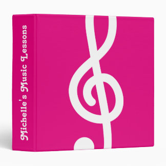Custom G treble clef music note 3 ring binder
