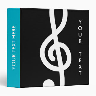 Custom G treble clef musical note binder for music