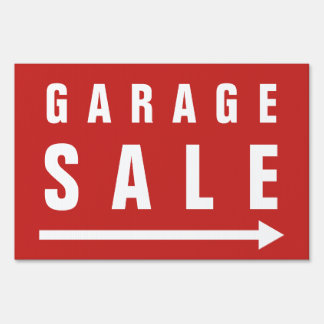Custom Garage Sale yard sign with pointing arrow