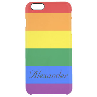Custom Gay Pride LGBT Rainbow Flag Clear iPhone 6 Plus Case