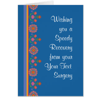 Custom Get Well from Surgery Rangoli Border, Blue Card