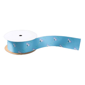 CUSTOM GIFT RIBBON, BLUE MARTINI DESIGN SATIN RIBBON