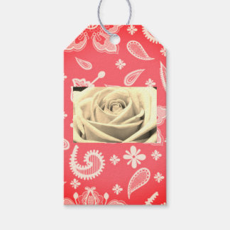 Custom Gift Tags LACE WITH ROSE