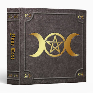 Custom Gilded Triple Moon Pentacle Book of Shadows Binder