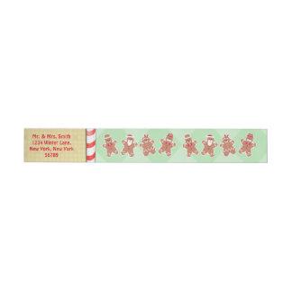 Custom Gingerbread Christmas Return Address Labels Wraparound Address Label