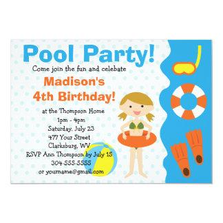 Custom Girl Birthday Pool Party Card