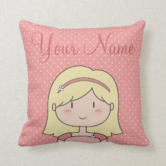 Custom Girl (blonde) Throw Pillow