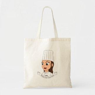 Custom girl chef tote bag